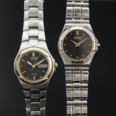 Pair of Citizen Eco-Drive Two Tone Wristwatches