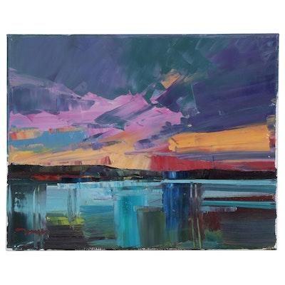 """Jose Trujillo Oil Painting """"Marshland Sunset"""""""