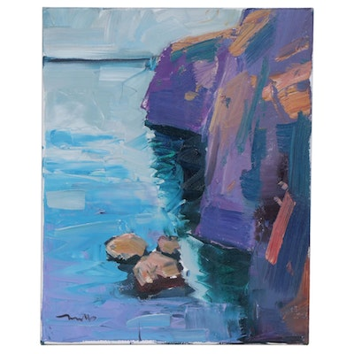 "Jose Trujillo Oil Painting ""Cliff Diving"""