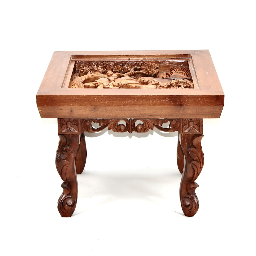 Filipino Carved Pictorial Top Wooden Side Table