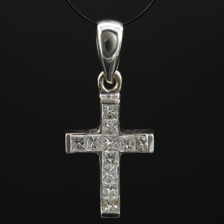 18K Gold 0.55 CTW Diamond Cross Pendant