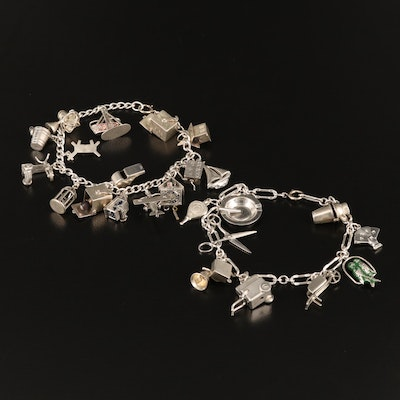 Vintage 900 and Sterling Articulating Charm Bracelets with Enamel Accents