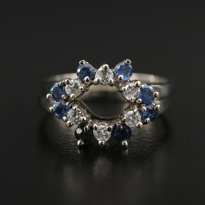 14K Gold Sapphire and Diamond Enhancer Rings
