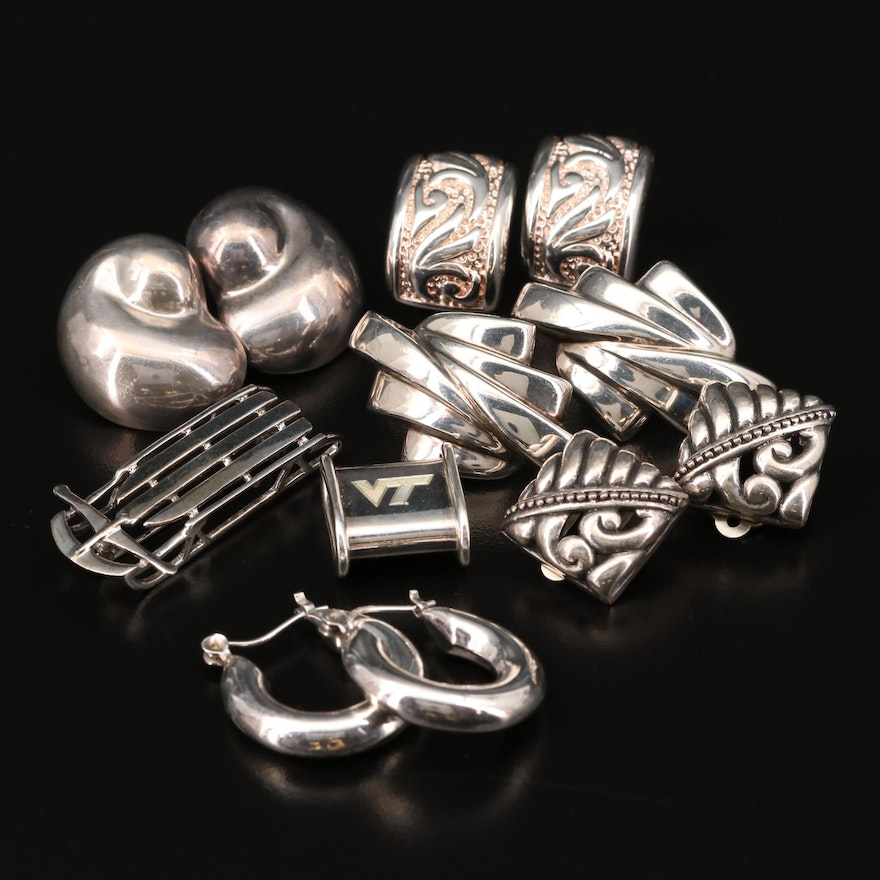 Collection of Sterling Silver Earrings Including Sled Brooch and 'VT' Pendant
