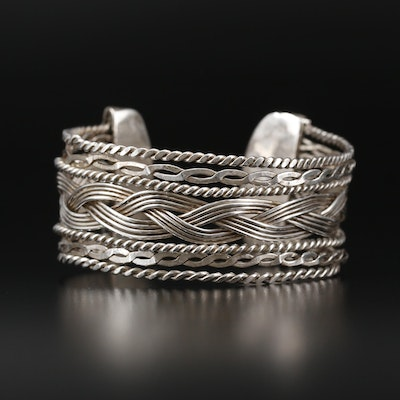 Sterling Silver Woven and Twisted Openwork Cuff