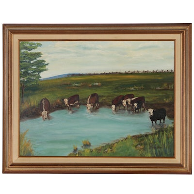 Bernice Stone Landscape Oil Painting with Cows
