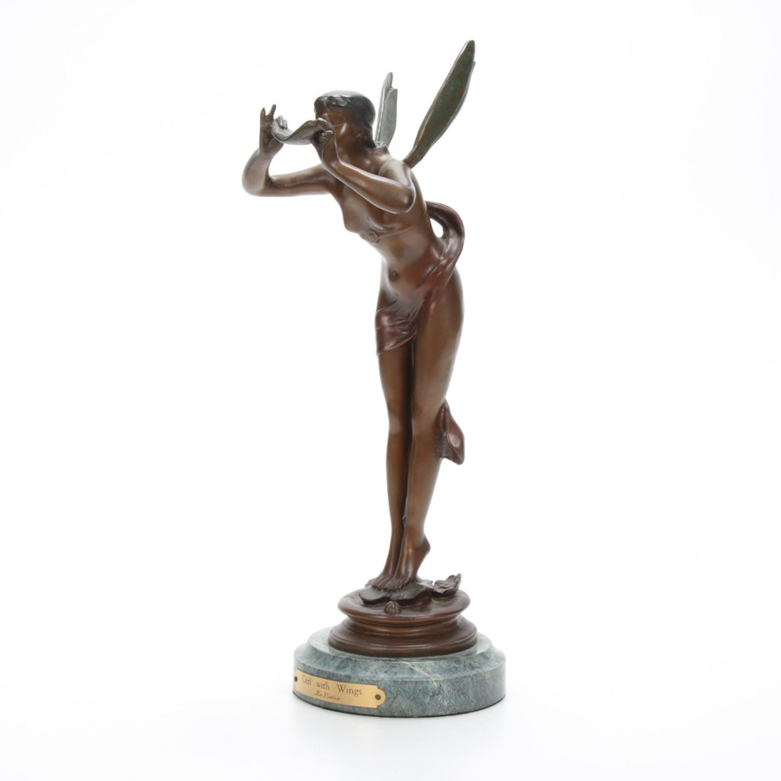 "La Vingtrie ""Girl with Wings"" Verdigris Bronze Fairy on Marble Base"
