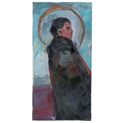 "Jose Trujillo Oil Painting ""Earthy Saint"""