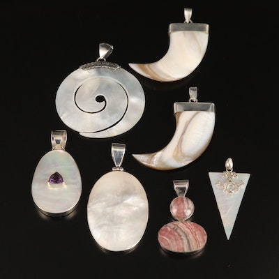 Sterling Pendants with Amethyst, Rhodochrosite and Mother of Pearl