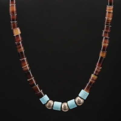 Southwestern Style Sterling Silver, Horn and Turquoise Heishi Necklace