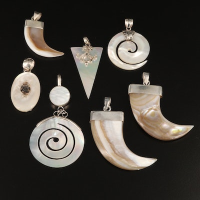 Sterling Pendants with Shell and Mother of Pearl