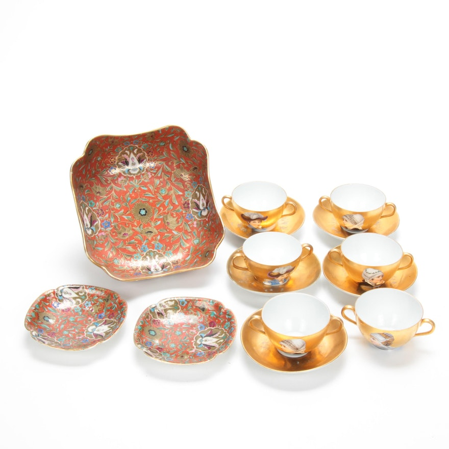 Fischer & Mieg and Other Hand-Painted Gilt Porcelain Dinnerware