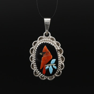 Signed Zuni Sterling Coral, Turquoise and Mother of Pearl Cardinal Pendant