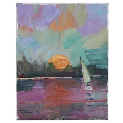 "Jose Trujillo Oil Painting ""Lake Sunset"""