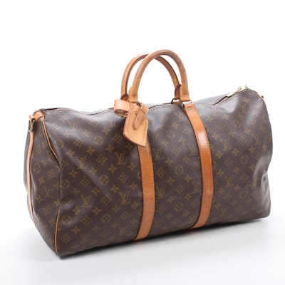 Louis Vuitton Keepall Bandoliere 50 Duffel in Monogram Canvas and Leather