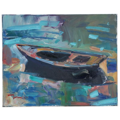 "Jose Trujillo Oil Painting ""The Row Boat"""