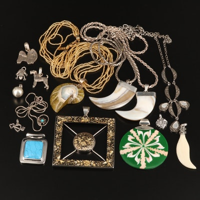 Collection of Sterling Silver Jewelry with Mother of Pearl and Shell