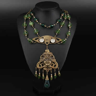 Art Nouveau Style Czech Glass Festoon Necklace