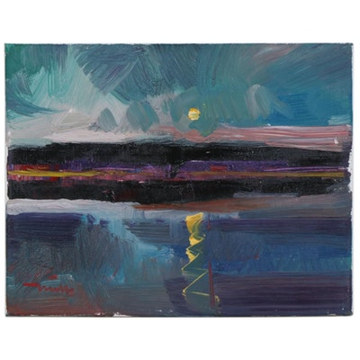 "Jose Trujillo Oil Painting ""The Setting Sun"""