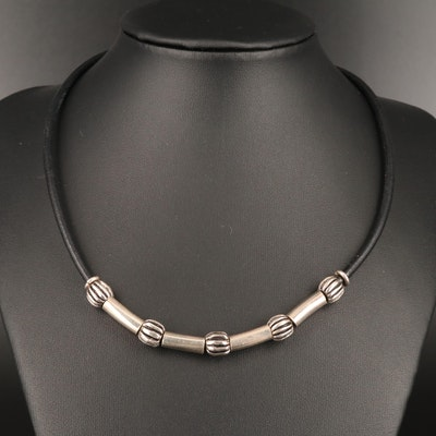 Sterling Silver and Cord Necklace