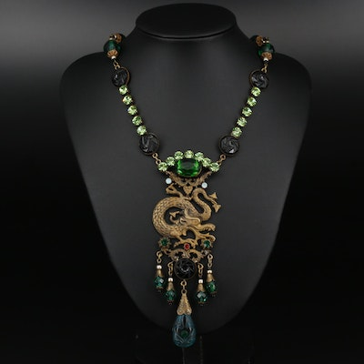 Asian Style Czech Glass and Rhinestone Dragon Necklace