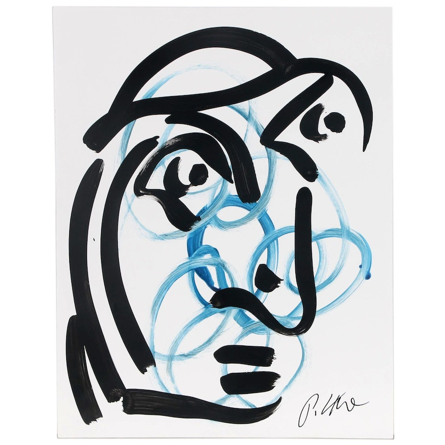 Peter Keil Linear Abstract Acrylic Portrait, Late 20th Century