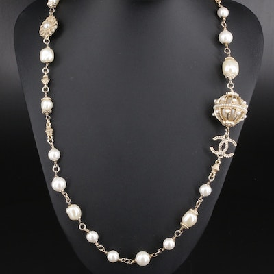 Chanel Faux Pearl Station Necklace