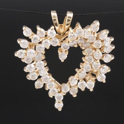 14K Gold Cubic Zirconia Heart Pendant