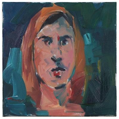 "Jose Trujillo Oil Painting ""Quiet Stare"", 2020"