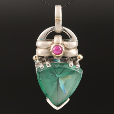 Sterling Silver Synthetic Quartz and Ruby Pendant