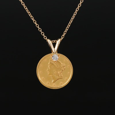 22K and 14K Diamond Pendant Necklace Featuring 1862 Liberty Head Gold Dollar