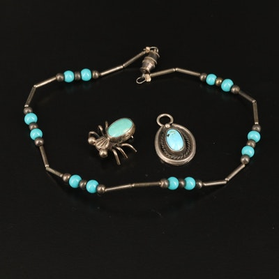 Beaded Turquoise Anklet, Pendant and Spider Pin