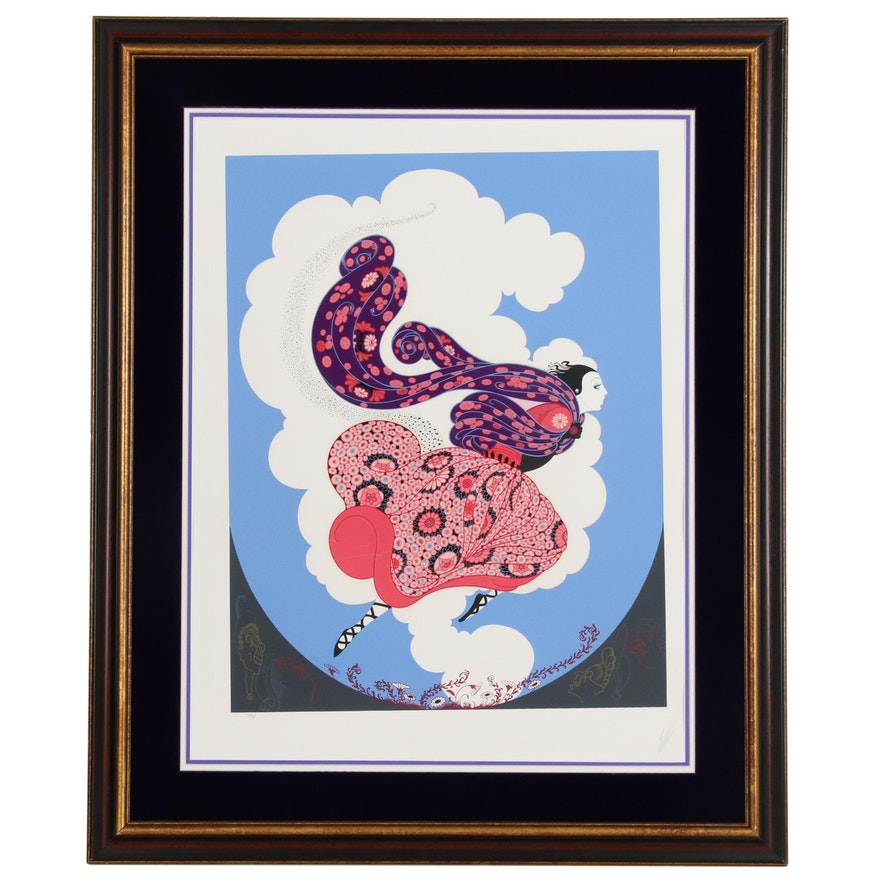 "Erté Embossed Serigraph ""Pursuit of Flore"", 1984"