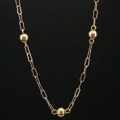 14K Gold Station Necklace