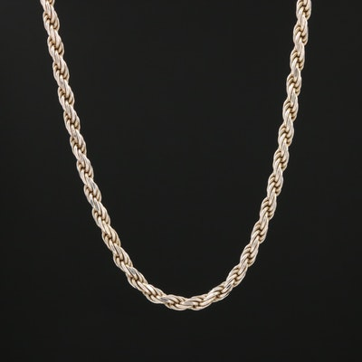 Sterling Silver French Rope Chain Necklace