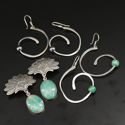 Sterling Earrings with Hematite, Glass and Turquoise