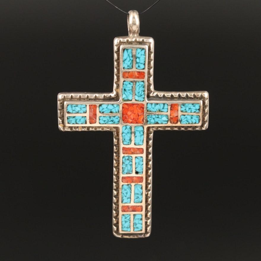 Sterling Silver Stones in Resin Cross Pendant