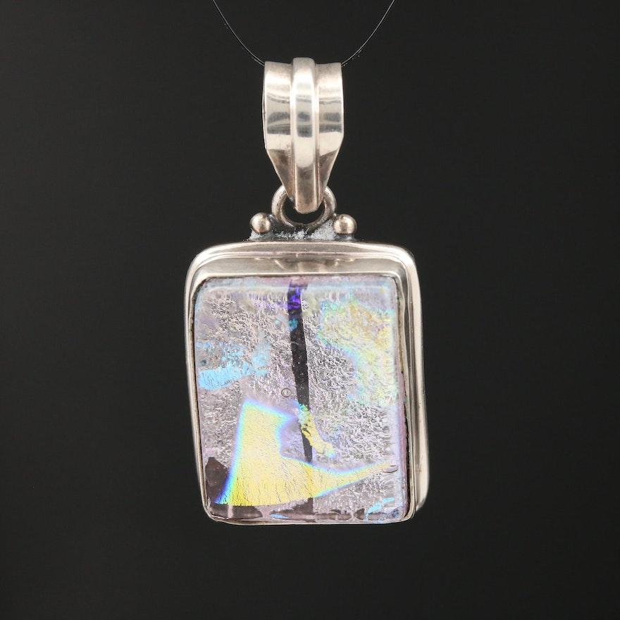 Sterling Silver Glass Square Pendant
