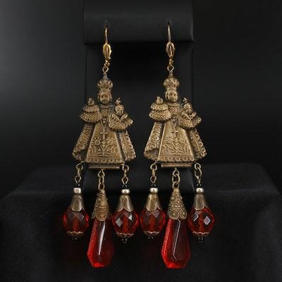 Religious Iconic Czech Glass Shoulder Duster Earrings
