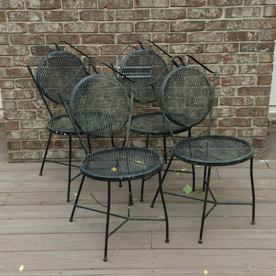 Four Iron Mesh Patio Side Chairs