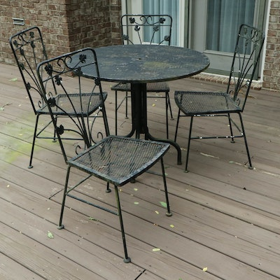 Iron and Mesh Outdoor Patio Dinning Set, Mid to Late 20th Century