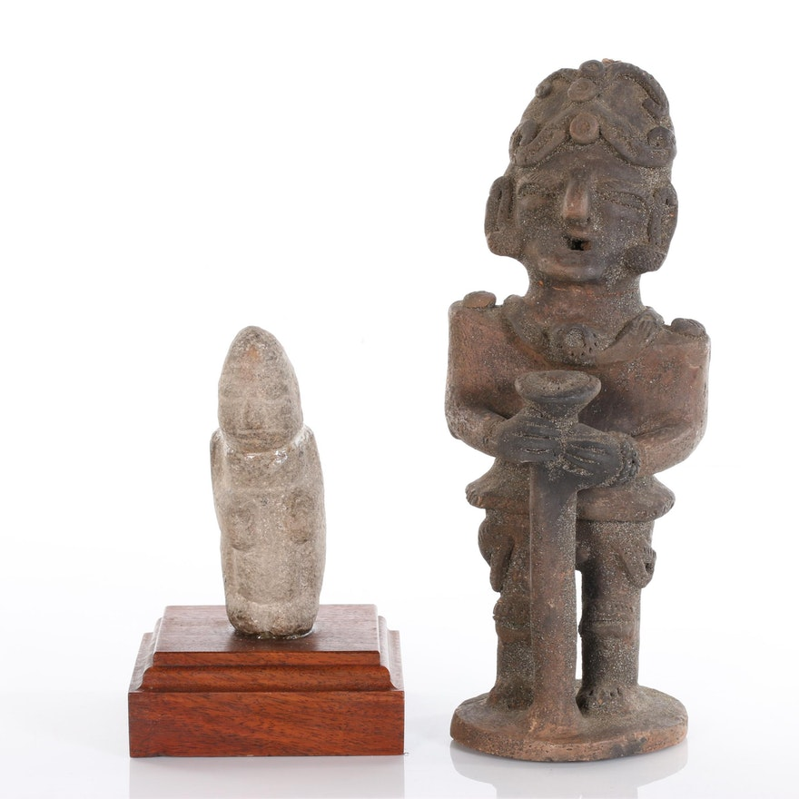 Pre-Columbian Style Stone and Terracotta Figures, 20th Century