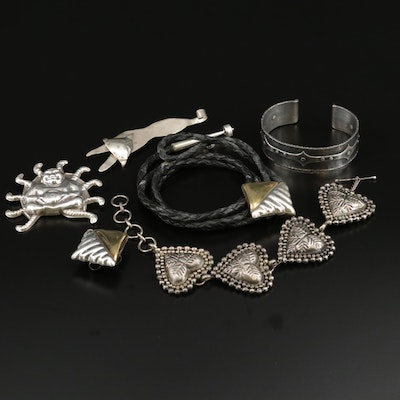 Sterling Silver Jewelry Selection Including Bolo Tie and Fox Brooch