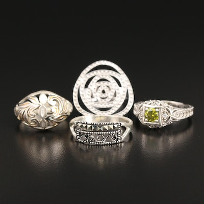 Sterling Rings with Marcasite and Cubic Zirconia