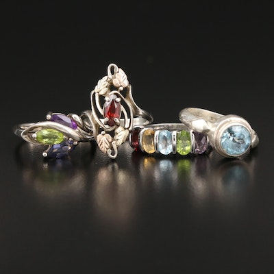 Sterling Rings with Garnet, Topaz, Peridot and Citrine