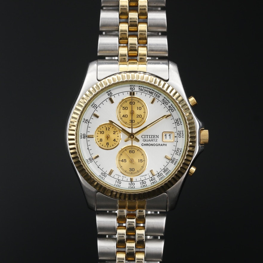 Citizen Chronograph Two Tone Quartz Wristwatch
