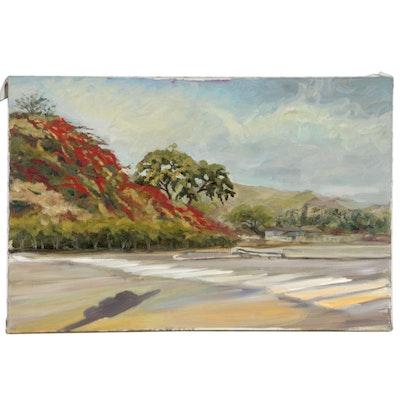 """Kaz Ooka Landscape Oil Painting """"Pu'uikena Dr, Honolulu, HI"""""""