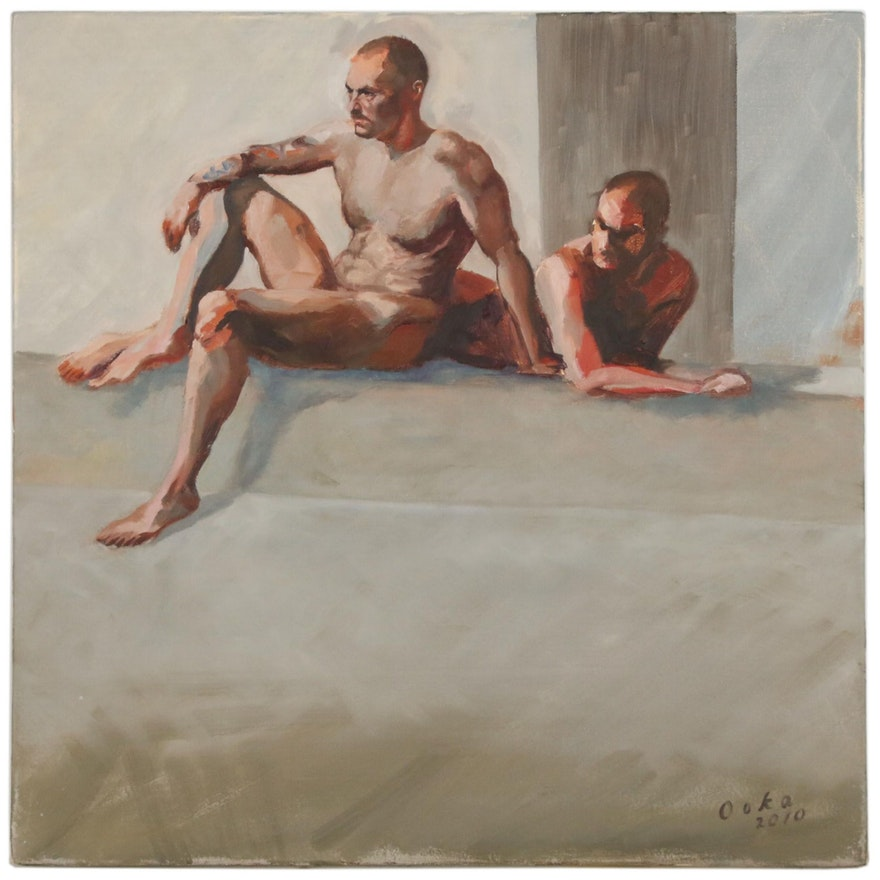 "Kaz Ooka Figure Oil Painting ""Duo No. 3"""