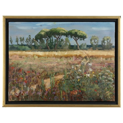 "Kaz Ooka Landscape Oil Painting ""A Field in Italy"""