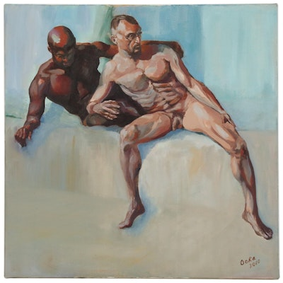 "Kaz Ooka Figure Oil Painting ""Duo No. 1"", 2010"